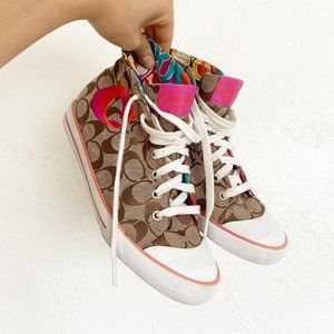 Coach High Top Shoes w/ Brightly Colored Pattern